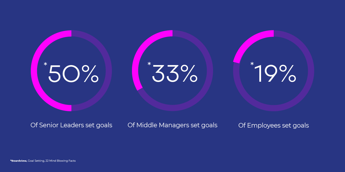 50% of Senior Leaders set Goals. 33% of Middle Managers set goals. 19% of Employees set goals